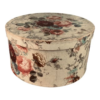 Antique Hand Painted Floral Hat Box For Sale