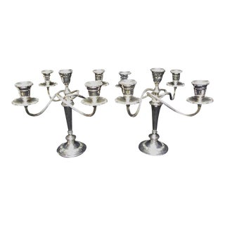 Vintage Gorham Newport Silver Plated 5 Candle Candelabras - a Pair For Sale