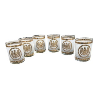 Georges Briard Gold American Eagle Low Ball Glasses - Set of 6 For Sale