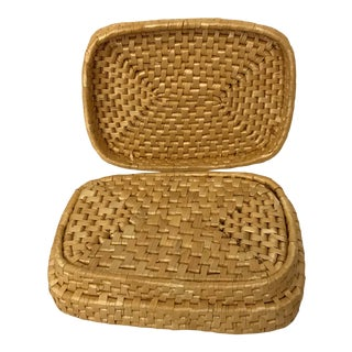 Vintage Woven Coaster Set and Box For Sale