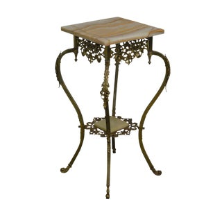 Victorian French Louis XV Style Brass and Onyx Pedestal Plant Stand For Sale