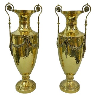 19th Century Pair of Polished Brass Decorative Urns or Vases With Handles For Sale