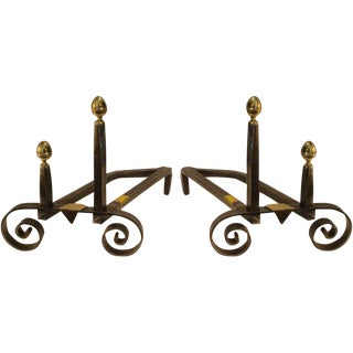 19th Century Iron Scroll Base Andirons - A Pair