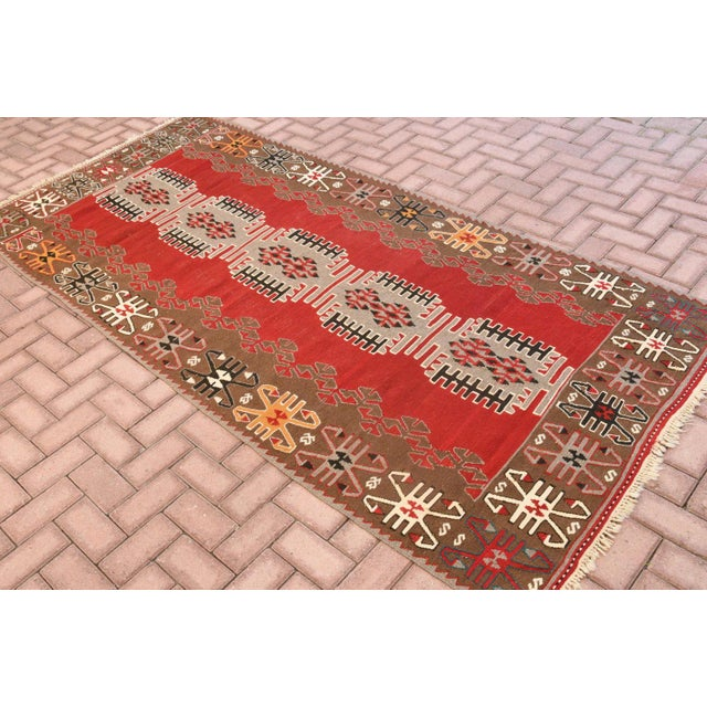 Tribal 9x4 Ft Antique Turkish Traditional Kilim Rug Oushak Geometric Design Red Color Kilim Oriental Tribal Wool Kilim Rug For Sale - Image 3 of 6