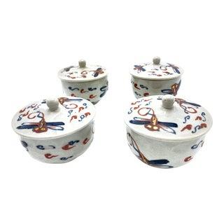 Mid-Century Japanese Porcelain Dragonfly Lidded Tea Cups For Sale