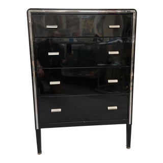 1930s Norman Bel Geddes for Simmons Enameled Steel + Chrome Highboy For Sale