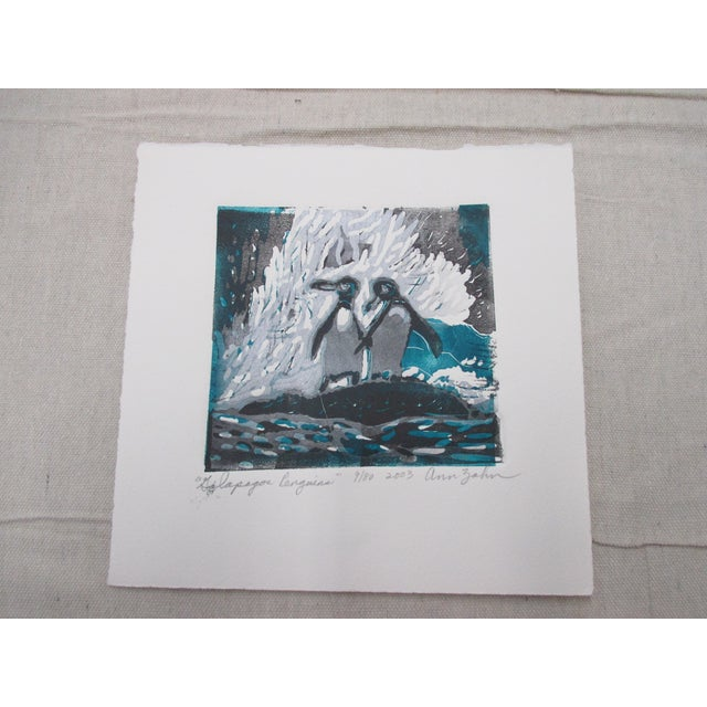 Vintage Lithograph Titled: Galapagos Penguins Signed by the Artist: Ann Zahn For Sale In Miami - Image 6 of 6
