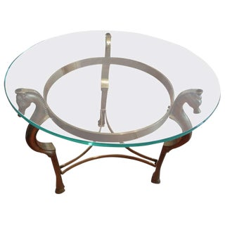 Round Italian Brass Table With Seahorse Head Supports and Glass Top