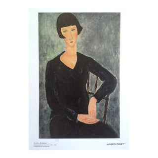 "Modigliani Lithograph Print Moderna Museet Museum Poster "" Woman Sitting in Blue Dress "" 1917 For Sale"