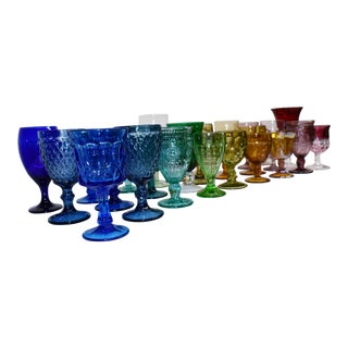 Vintage Multi Colored Rainbow Glass Goblets - Set of 30 For Sale