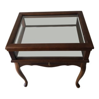 1970s Vintage Wooden & Glass Display Side Table For Sale