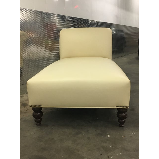 George Smith Style Ivory Leather Chaise For Sale - Image 4 of 9