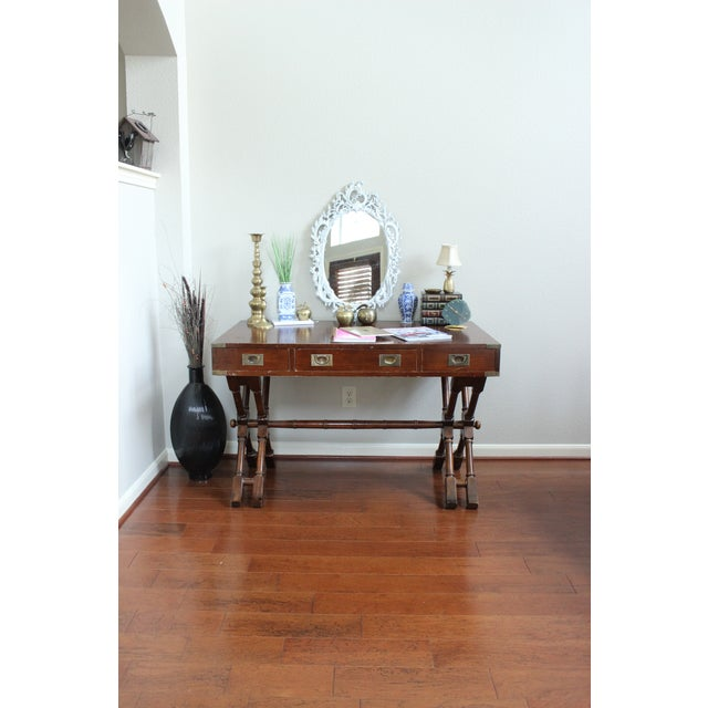 Campaign Style Double X Base Writing Desk For Sale - Image 4 of 11