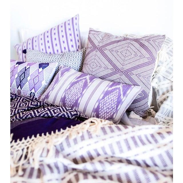 Lilac & White Ikat Guatemalan Pillow - Image 9 of 9
