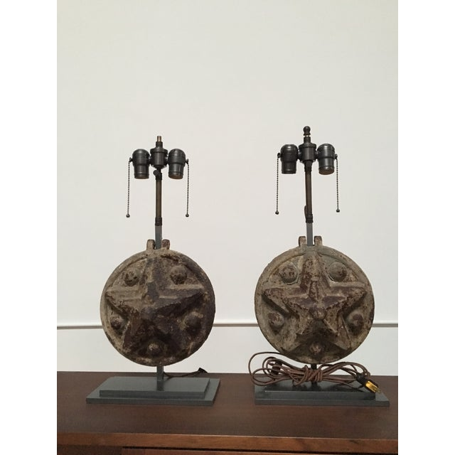 Americana Circa 1860 Antique Iron Star Table Lamps - A Pair For Sale - Image 3 of 8