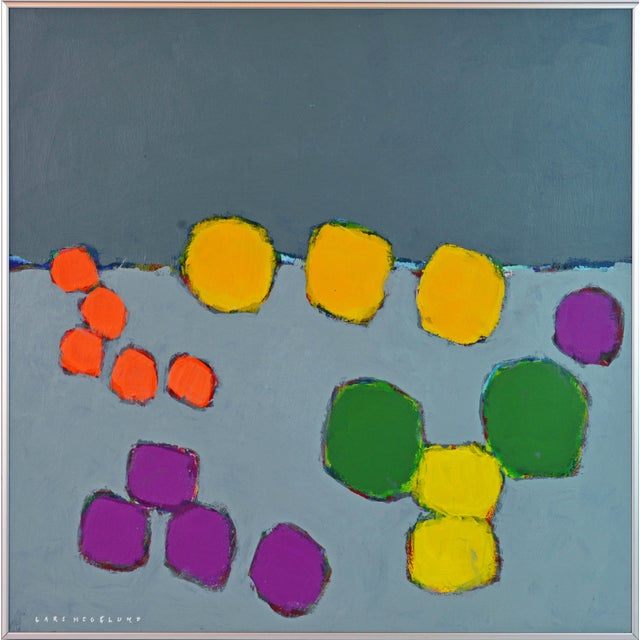 Purple 'Color Composition' Original Abstract Painting by Lars Hegelund, 25 X 25 In. For Sale - Image 8 of 9
