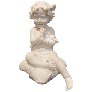 19th Century French Carved Young Child on Cushion Marble Sculpture For Sale