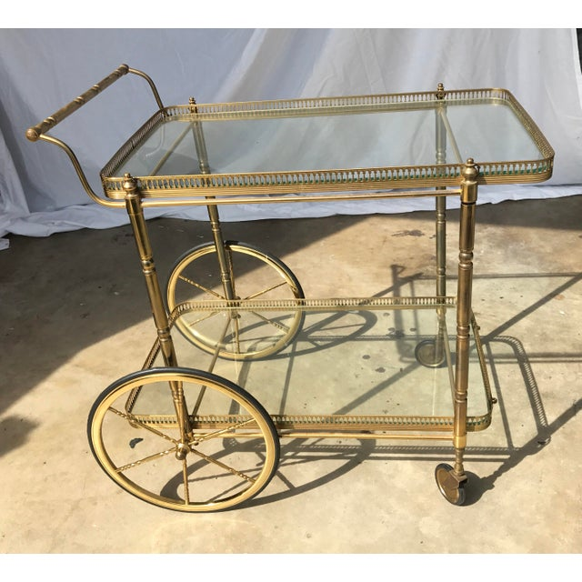 Italian Brass Bar Cart - Image 2 of 3