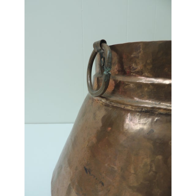 Vintage Round Moroccan Polished Copper Decorative Planter With Handles For Sale - Image 4 of 6