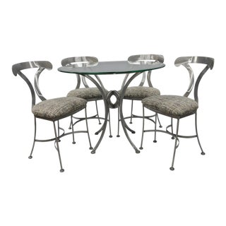 Shaver Howard 5 Piece Steel Modern Dining Set Round Glass Top Table 4 Chairs For Sale