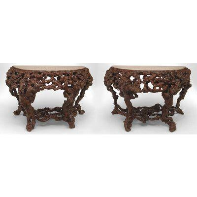 Pair of Asian Chinese Rustic Style Root Console Tables For Sale In New York - Image 6 of 6