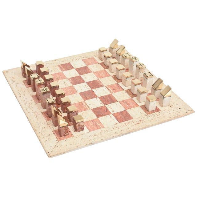 Italian Vintage Travertine and Brass Modernist Chess Set For Sale