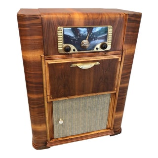 Radio Phonograph Liquor / Bar Cabinet For Sale