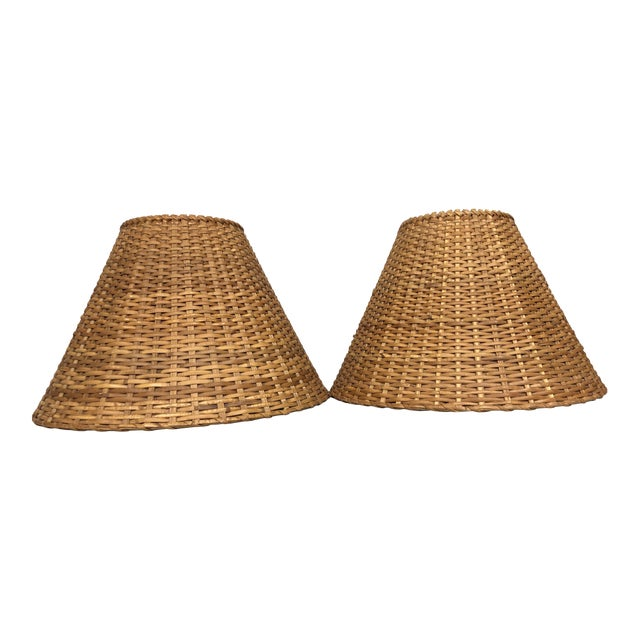Vintage Rattan Lamp Shades - a Pair For Sale
