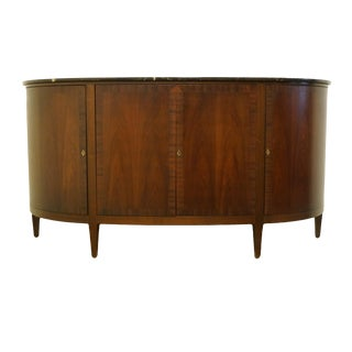 "1940's Mahogany 78"" Demilune Storage Sideboard For Sale"