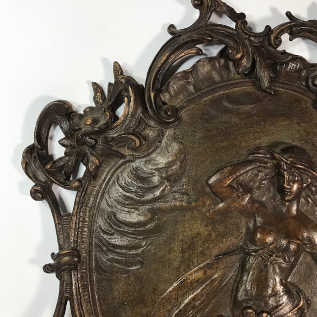 Antique Gilded Bronze Plaque For Sale - Image 5 of 11