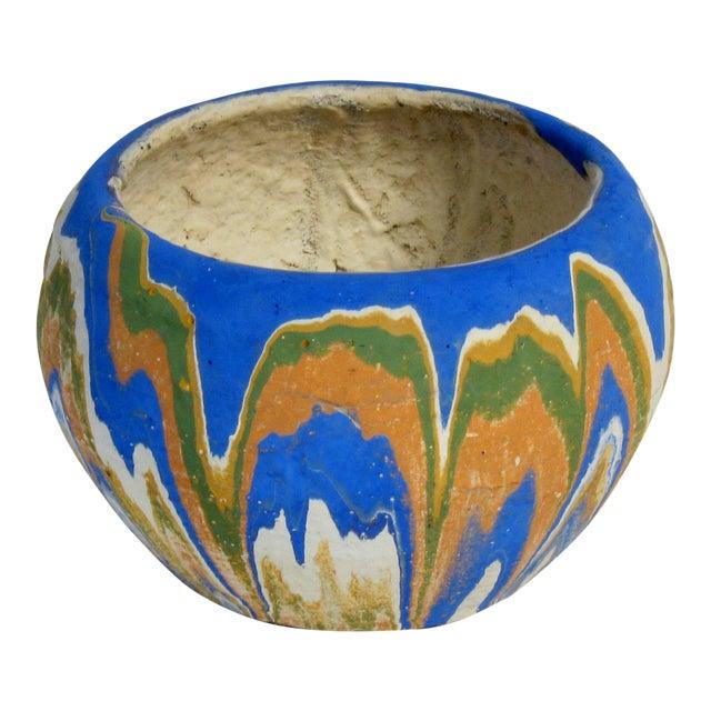 Vintage Earthenware Swirl Planter For Sale