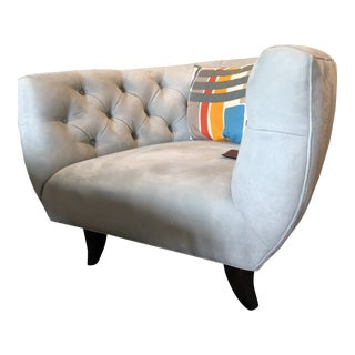 Mid Century Modern Custom Oversized Tufted Arm Chair For Sale