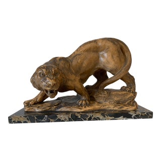 Early 20th Century Art Deco Terraccota Panther For Sale