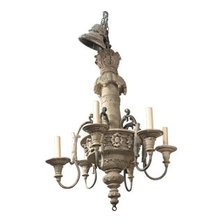 Early 20th Century Vintage Italian Painted Wood Chandelier For Sale