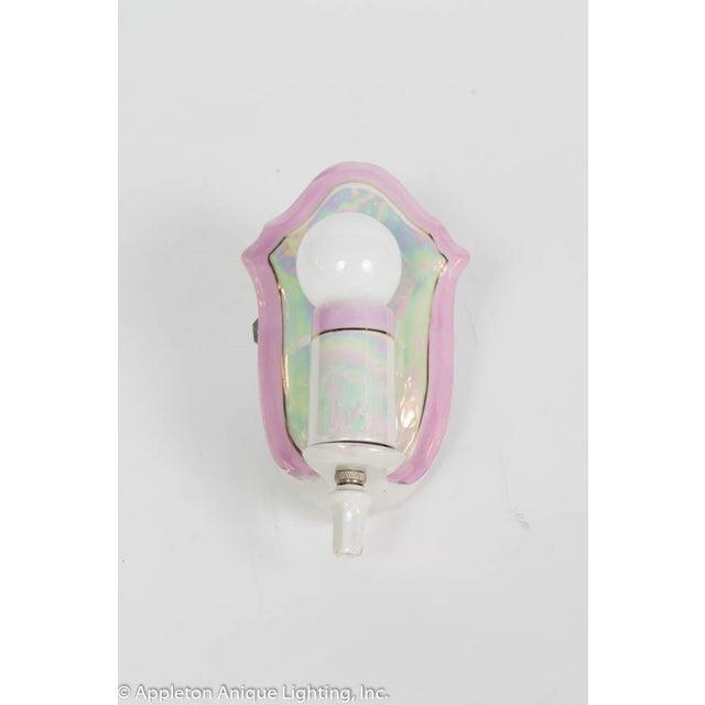 Restored Vintage Pink Iridescent Porcelain Bathroom Sconces - a Pair For Sale - Image 11 of 12