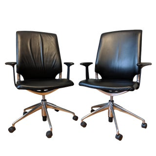 2000's Modern Vitra Meda Chairs by Alberto Meda in Black Leather and Die Cast Aluminum - a Pair For Sale