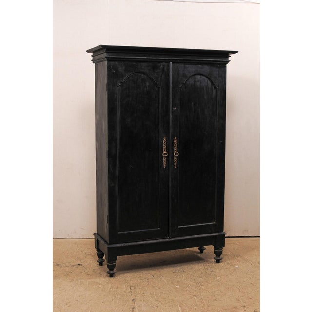 Tall Mid-20th Century British Colonial Ebonized Wood Cabinet For Sale - Image 4 of 12