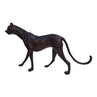 Solid Bronze Leopard Decorative Floor Sculpture / Statue For Sale