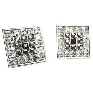 1980s Ysl Yves Saint Laurent Square Rhinestone Earrings For Sale