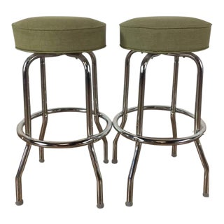 Retro Style Metal Upholstered Bar Stools - A Pair