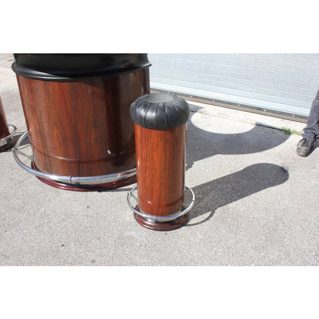 1940s Vintage French Art Deco Macassar Ebony Semicircle Dry Bar Set- 3 Pieces For Sale - Image 9 of 13