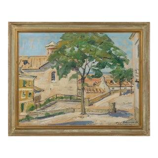 "Village Cityscape of the ""Antigua Basin"" by Carl Schwenn 1961 For Sale"