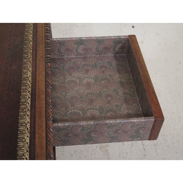 1990s Chippendale Maitland Smith Square Leather Top Games Table For Sale - Image 9 of 11