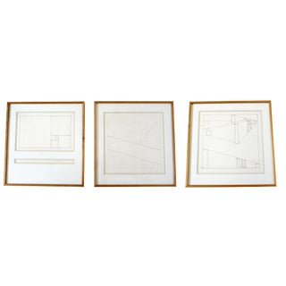 Mid Century Modern Framed Signed Set of 3 Prints by David Barr 170 Geometry