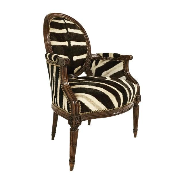 Louis XVI Style Walnut Bergere in Zebra Hide - Image 1 of 7