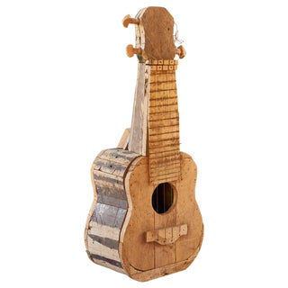 Late 20th Century Nii Adum Reclaimed Wood Guitar Sculpture For Sale