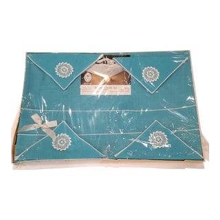 Vintage Aqua Linen Tablecloth & Napkin Bridge Set For Sale