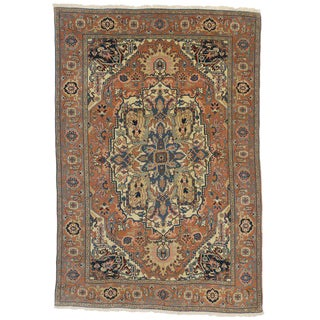 1980s Romanian Rug With Grand Medallion - 6′1″ × 8′11″ For Sale