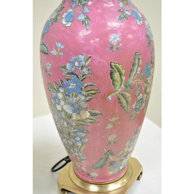 Ceramic Pair of Vintage Oriental Heyward House Brass Ceramic Pink Floral Table Lamps For Sale - Image 7 of 11