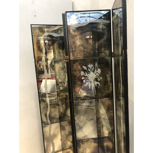 Wood Vintage Four Panel Mercury Mirror Folding Screen For Sale - Image 7 of 13